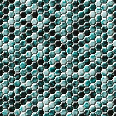 wallboard: green blue snake skin hexagonal seamless pattern texture background Stock Photo