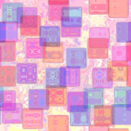 角が丸い正方形のパステル ピンク紫黄色シームレス パターン テクスチャ背景