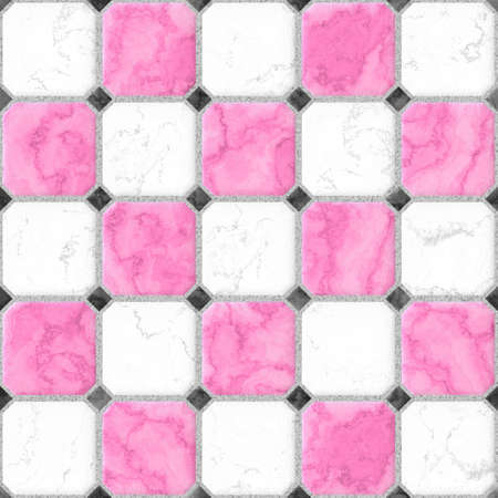 pink, white, black squares seamless pattern texture background with gray grout Stock Photo