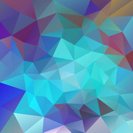 turquiose: vector polygon background with irregular tessellations pattern - triangular design in neon colors - blue, turquiose, red, violet