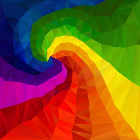 tessellation: vector polygon background with irregular tessellation pattern - triangular geometric design in spectrum rainbow full color - spiral