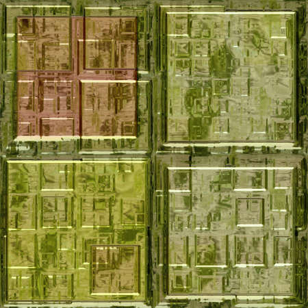 wallboard: green glass mosaic square tiles seamless pattern texture background Stock Photo