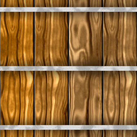 woody: brown wood barrel seammles pattern texture background with old wooden planks and silver metal bands