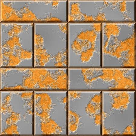 wallboard: rusty silver gray metallic bricks seamless pattern texture background