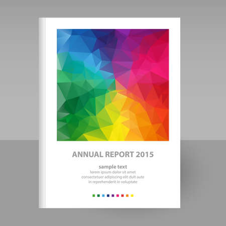 annual report: vector cover of annual report with full color spectrum polygon triangle design - format A4 - layout brochure concept Illustration