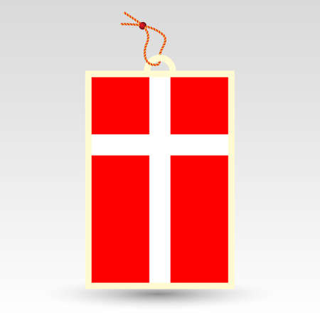 twine: vector simple danish price tag - symbol of made in denmark - label with national flag and string