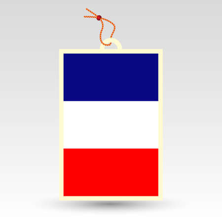 paper hanger: vector simple french price tag - symbol of made in france - label with national flag and string
