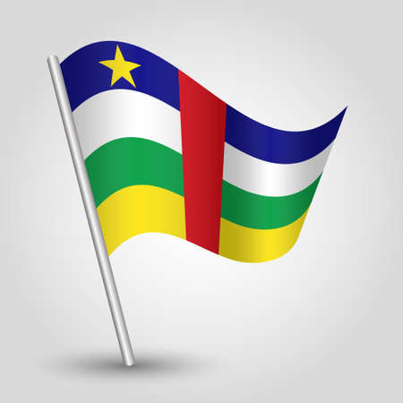 slanted: vector waving simple triangle flag on slanted pole - icon of central african republic with metal stick Illustration