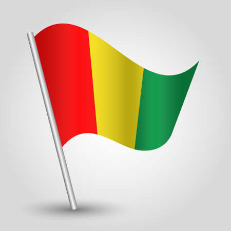 slanted: vector waving simple triangle guinean flag on slanted pole - icon of guinea with metal stick