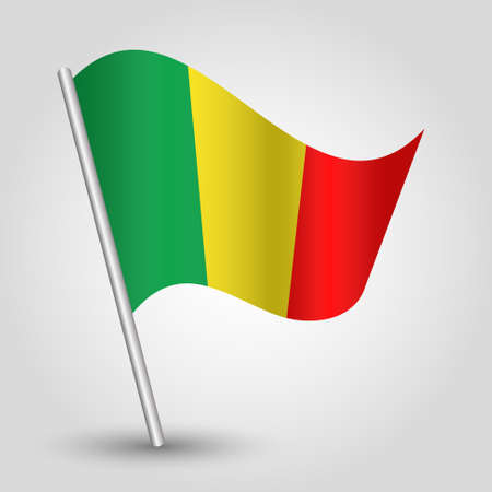 slanted: vector waving simple triangle malian flag on slanted pole - icon of mali with metal stick Illustration