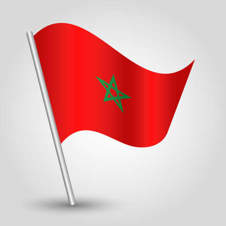 slanted: vector waving simple triangle moroccan flag on slanted pole - icon of morocco with metal stick
