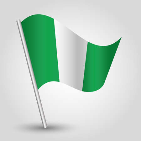 slanted: vector waving simple triangle nigerian flag on slanted pole - icon of nigeria with metal stick Illustration