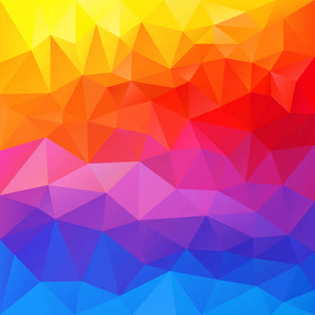 full color: vector polygon background with irregular tessellation pattern - triangular geometric design in full spectrum color - horizontal striped rainbow