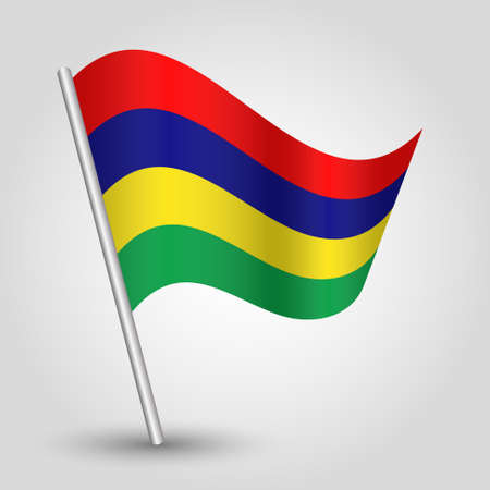 slanted: vector waving simple triangle mauritian flag on slanted pole - icon of mauritius with metal stick