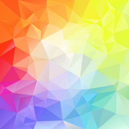 color spectrum: vector polygon background with irregular tessellation pattern - triangular geometric design in full color spectrum - bright in middle