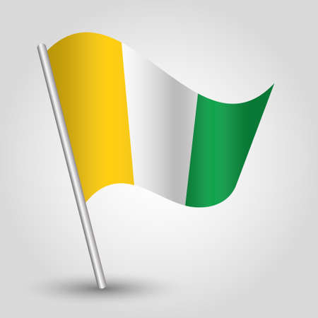 slanted: vector waving simple triangle african flag on slanted pole - icon of ivory coast with metal stick