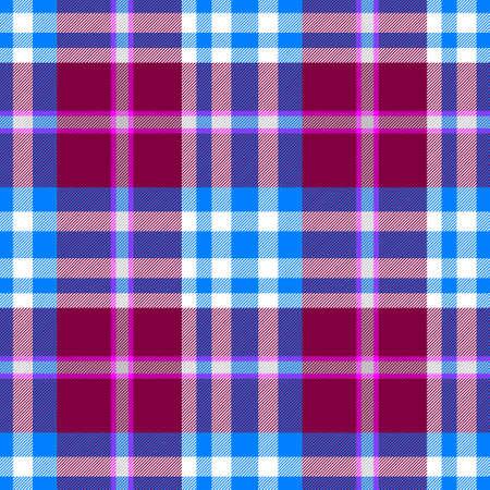 scots: blue purple claret check diamond tartan plaid fabric seamless pattern texture background Stock Photo