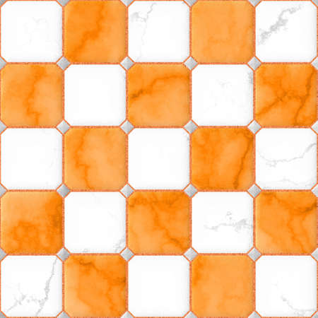 tiles floor: orange and white marble square floor tiles with gray rhombs and gap seamless pattern texture background Stock Photo