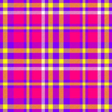 scots: hot pink purple yellow check diamond tartan plaid fabric seamless pattern texture background