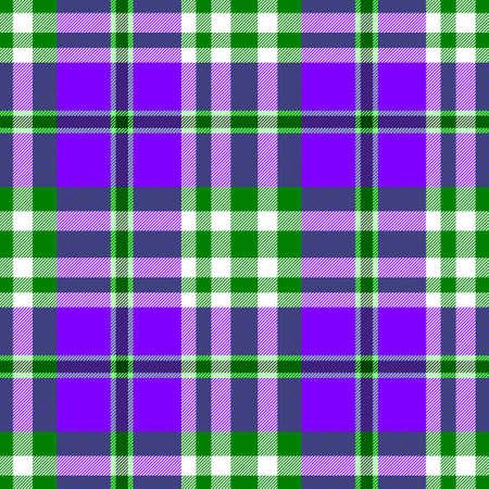 scots: purple green check diamond tartan plaid fabric seamless pattern texture background Stock Photo