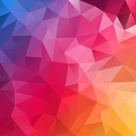 color spectrum: vector polygon background with irregular tessellation pattern - triangular geometric design in full color spectrum - blue, purple, red, pink orange, yellow