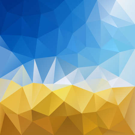 cornfield: vector polygon background with irregular tessellation pattern - triangular geometric design in harvest color - yellow grain and blue sky