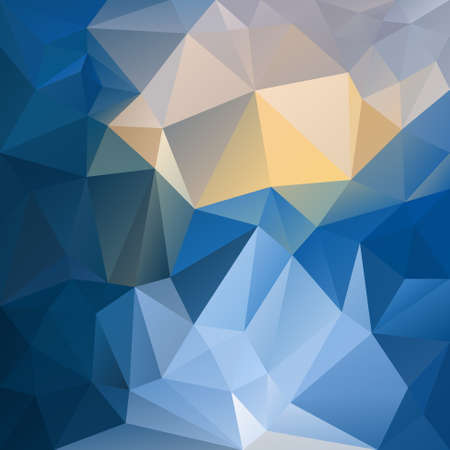 tessellation: vector polygon background with irregular tessellation pattern - triangular geometric design in sapphire color - blue and yellow