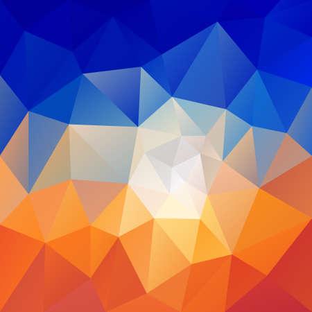 sunup: vector polygon background with irregular tessellation pattern - triangular geometric design in desert sky sunrise color - orange and blue