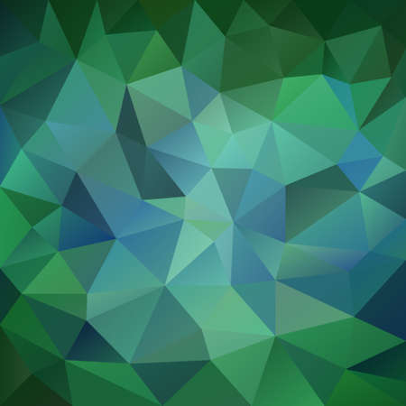 tessellation: vector polygon background with irregular tessellation pattern - triangular geometric design in emerald color - blue and green Illustration