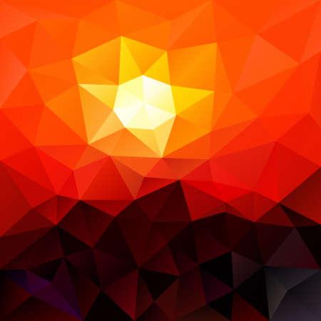 sunup: vector polygon background with irregular tessellation pattern - triangular geometric design in red color - sundown Illustration