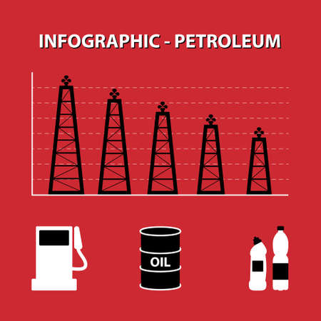 decline: red white black infographic of decline production of petroleum with rig columns and icon of fuel, oil and plastic