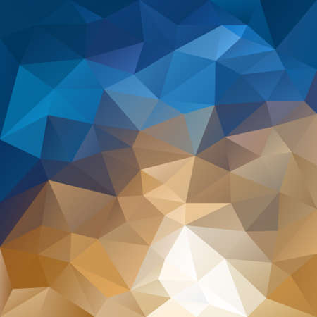 tessellation: vector polygon background with irregular tessellation pattern - triangular geometric design in natural color - blue, beige and brown