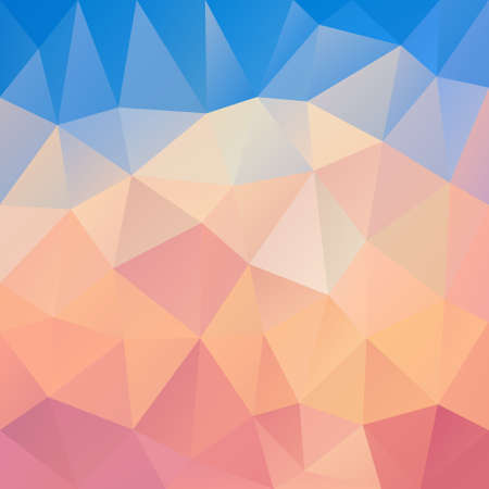 tessellation: vector polygon background with irregular tessellation pattern - triangular geometric design in pastel color - blue and pink