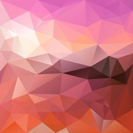sunup: vector polygon background with irregular tessellation pattern - triangular geometric design in sunrise color - pink, orange a red