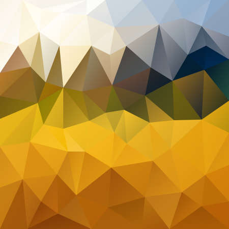 vector polygon background with irregular tessellation pattern - triangular geometric design in harvest color - yellow, orange, green and blue Illustration
