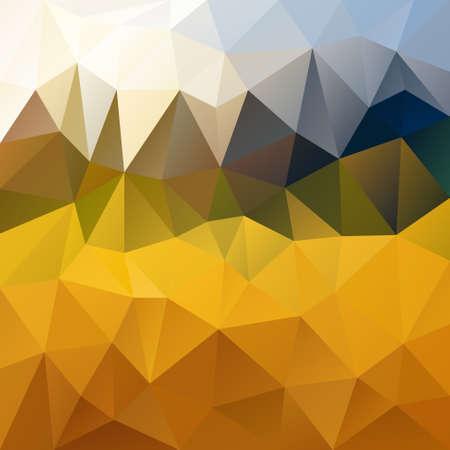 tessellation: vector polygon background with irregular tessellation pattern - triangular geometric design in harvest color - yellow, orange, green and blue Illustration
