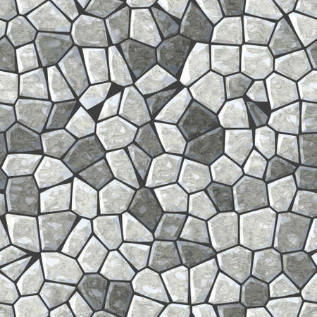 marble irregular stony mosaic seamless pattern texture background with black grout Stock Photo