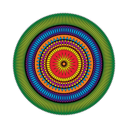 full color: vector adult coloring book page circular pattern mandala star colored - geometrical shapes