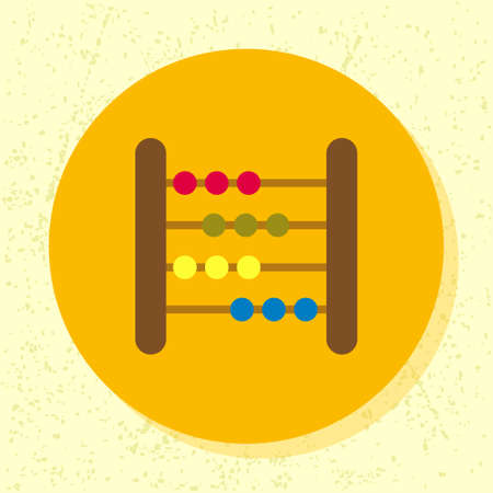 tally: vector round icon old fashioned woody abacus baby toy symbol of tally, math, calculation in flat design on grunge paper background