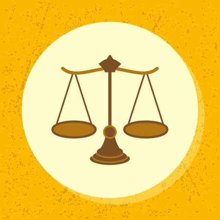 righteous: vector round icon woody scale symbol of legal, court, ruling, claim, judiciary and medical in flat design on grunge paper background