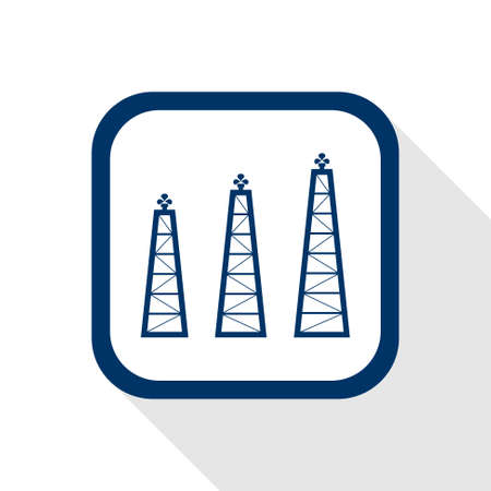 enviroment: vector square dark blue icon oil rigs with long shadow - symbol of petroleum production  in flat design