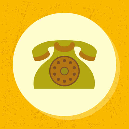 retro grunge: vector round icon old retro green telephone symbol of contact us, support, phone in flat design on grunge paper background