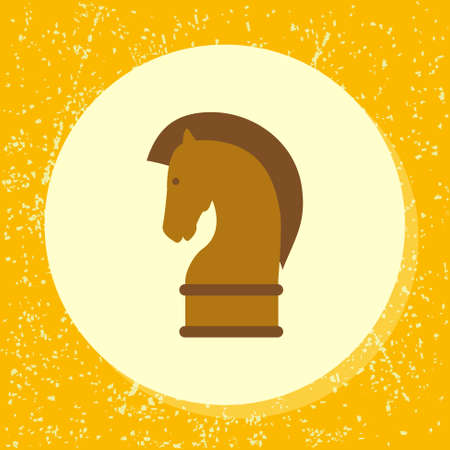 chess horse: vector round icon chess horse piece symbol of strategy, strategic, strategical in flat design on grunge paper background