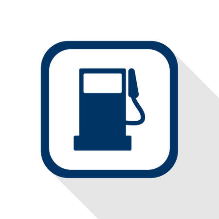 benzine: square dark blue icon fuel pump station with long shadow - symbol of benzine, oil, gas in flat design