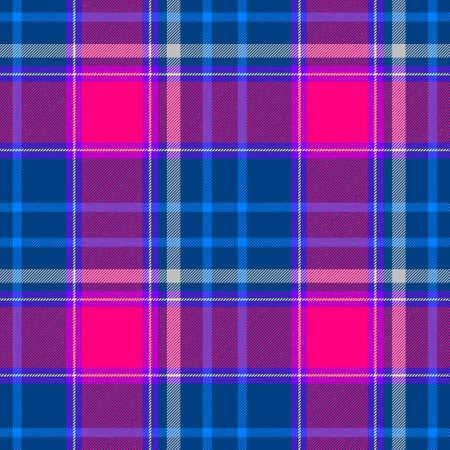 scots: blue pink violet purple check diamond tartan plaid fabric seamless pattern texture background