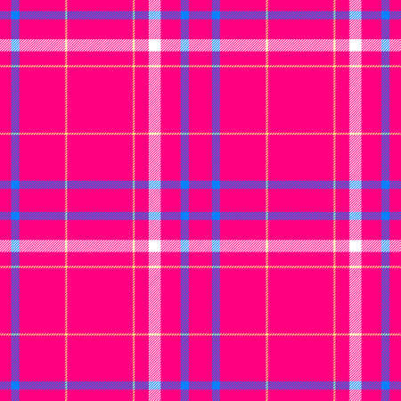 scots: vibrant pink blue white rose check diamond tartan plaid fabric seamless pattern texture background