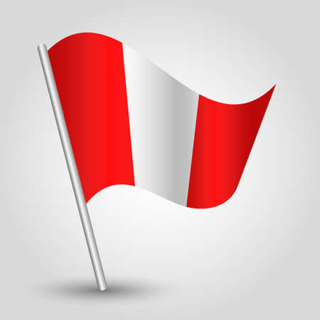 slanted: vector waving simple triangle peruvian flag on slanted pole - icon of peru with metal stick Illustration