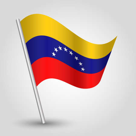 slanted: vector waving simple triangle venezuelan flag on slanted pole - icon of venezuela with metal stick