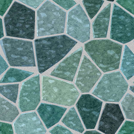 grout: gray blue green marble irregular plastic stony mosaic seamless pattern texture background with gray grout Stock Photo