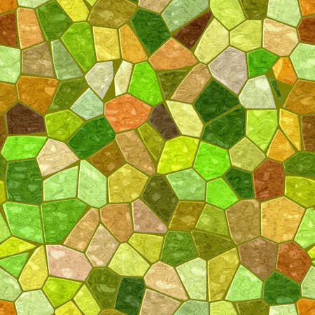 grout: green brown yellow orange marble irregular plastic stony mosaic seamless pattern texture background with dark grout